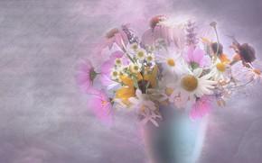Обои цветы, букет, картина, ваза