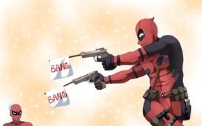 Картинка gun, pistol, weapon, Deadpool, Spider-Man, Spiderman, Spider Man, by claudiadragneel