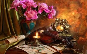 Картинка ноты, скрипка, часы, свеча, букет, бусы, натюрморт, пионы