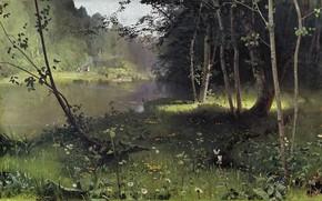 Обои пейзаж, природа, картина, Лесная Река, Николай Дубовской