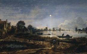 Картинка пейзаж, дерево, масло, картина, Арт ван дер Нер, Вид на Реку в Лунном Свете