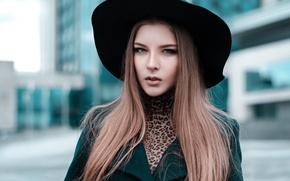 Картинка взгляд, девушка, лицо, модель, портрет, шляпа, шатенка, красивая, прелесть, young, симпатичная, выражение, шикарная, боке, amazing, …