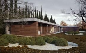 Обои дизайн, дом, дерево, газон, кусты, Horizontal, Michal Nowak