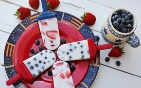 Картинка ягоды, черника, клубника, тарелка, мороженое, чашка