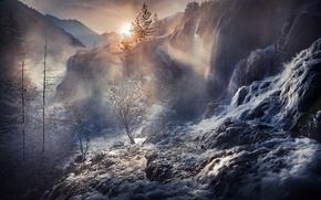 Обои лес, вода, свет, природа, туман, скалы, китай, дымка, водопады, потоки