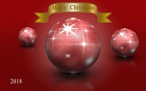 Картинка блики, отражение, рендеринг, красное, шары, цвет, новый год, Рождество, 2018