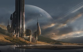 Картинка горы, планета, башня, station