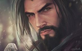 Обои взгляд, aenaluck, мужчина, борода, арт, лицо, волосы