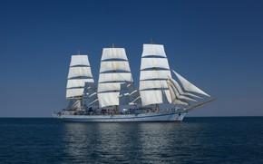 Картинка море, небо, корабль, парусный, херсонес