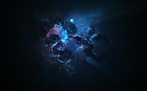 Обои темный, туманность, звезды, синий, рябь, nebula, darkness, розовый, космос, Space, светлый, space art, dark, арт, ...