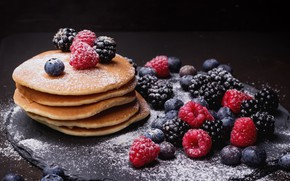 Картинка ягоды, малина, черника, блины, ежевика, сахарная пудра, blackberry, raspberry, blueberries, pancake