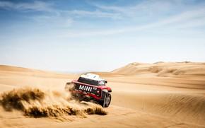 Картинка Небо, Песок, Mini, Спорт, Пустыня, Скорость, Rally, Dakar, Дакар, Ралли, Дюна, Buggy, Багги, X-Raid Team, …