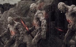 Картинка fire, flame, rock, game, blade, The Elder Scrolls V: Skyrim, giant, The Elder Scrolls, warrior, …