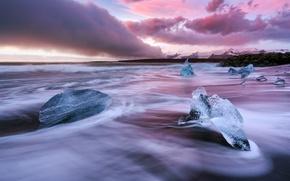 Картинка пляж, небо, горы, природа, лёд, утро