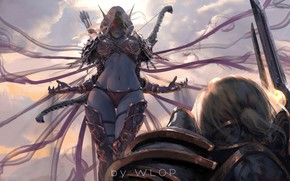 Картинка girl, sword, World of Warcraft, fantasy, game, Warcraft, armor, red eyes, men, painting, weapons, elf, …
