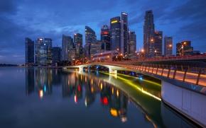 Картинка ночь, огни, Сингапур, мегаполис, Singapore