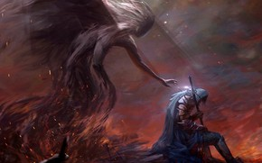 Обои demon, fire, sword, fantasy, armor, weapon, Warrior, bokeh, digital art, artwork, fantasy art, sitting, hood, ...