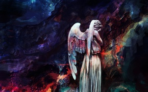 Картинка стиль, рисунок, крылья, арт, статуя, Doctor Who, Доктор Кто, Плачущий Ангел, Alice X. Zhang, AliceXZ