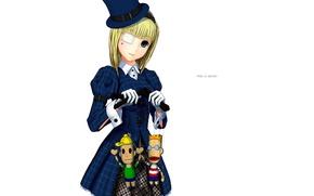 Картинка куклы, шляпа, девочка, белый фон, перчатки, art, повязка на глаз, манжеты, марионетки, синее пальте, moyacy