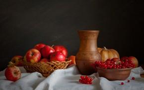Картинка яблоки, тыква, натюрморт, калина