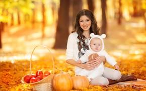 Картинка осень, парк, отдых, ребенок, малыш, семья, прогулка, мама, young, autumn, time, Happy, outdoor, family, spending