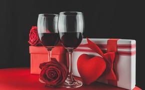 Картинка вино, бокалы, red, love, romantic, hearts, valentine's day, gift, roses, красные розы