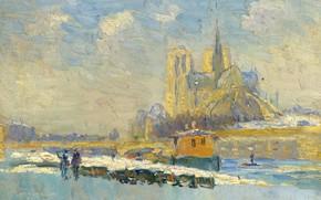Картинка картина, городской пейзаж, Альбер-Шарль Лебур, Albert Lebourg, Собор Парижской Богоматери и Набережная Турнель