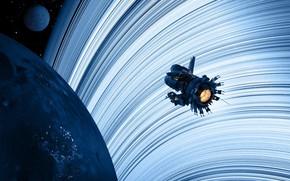 Картинка космос, планеты, звёзды, аппарат, Blue rings