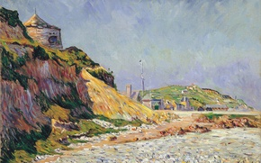 Картинка пейзаж, дом, обрыв, берег, картина, Поль Синьяк, Пор-ан-Бессен. Пляж