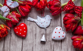 Обои тюльпаны, red, love, flowers, romantic, hearts, tulips, valentine`s day