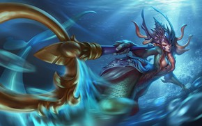 Обои вода, nami, art, lol, League of Legends, the tidecaller