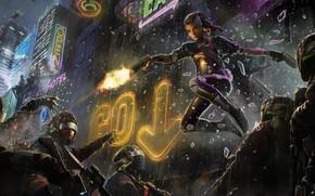 Обои пистолет, фантастика, полиция, очки, девушка, ночь, вывеска, дождь, город, cyberpunk, шлем, арт, спецназ