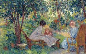 Картинка отдых, картина, жанровая, Georges d'Espagnat, В Саду