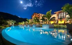 Картинка вилла, вечер, бассейн, курорт, Seychelles, Resort, Petit Anse
