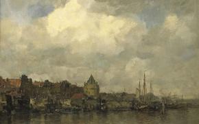 Картинка город, масло, картина, холст, Якоб Хендрикус Марис, Башня Схрейерсторен в Амстердаме