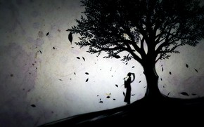 Картинка girl, game, trees, leaves, digital art, artwork, silhouette, flute, Nioh