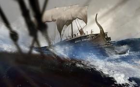 Картинка волны, шторм, корабль, воины, Trireme
