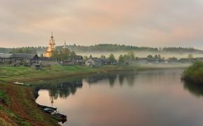 Картинка туман, утро, деревня, Архангельская область, Кимжа