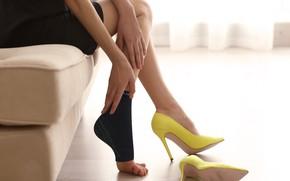 Картинка legs, yellow, heels, facitis palntar
