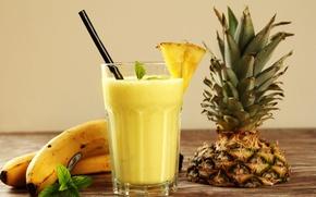 Картинка стакан, сок, бананы, трубочка, напиток, фрукты, ананас, мята, смузи