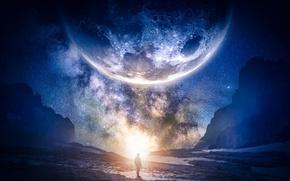Обои планета, звёздное небо, галактика, горы, фотошоп, человек