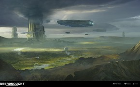 Картинка тучи, транспорт, сооружения, DREADNOUGHT, Terraforming