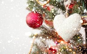 Картинка игрушки, Ель, Новый год, Праздник, сердечко