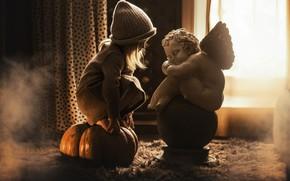 Картинка шапка, ангел, девочка, тыква, скульптура