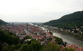 Картинка Дома, Мост, Река, Германия, Панорама, Крыши, Здания, Bridge, Germany, River, Panorama, Heidelberg, Гейдельберг
