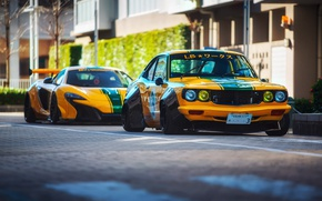 Обои город, улица, McLaren, фотограф, Mazda, Liberty Walk, 650S, RX-3, LBW, Dino Dalle Carbonare