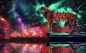 Картинка космос, тигр, фантаcтика, by Bluemisti