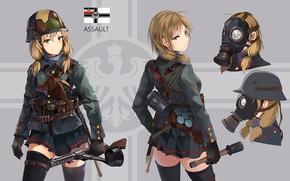 Картинка девушка, фон, солдат, анмие