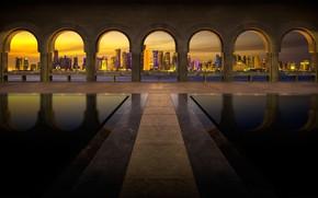 Картинка ночь, огни, дома, Дубаи, арка, ОАЭ