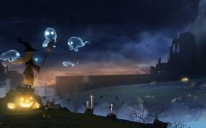 Картинка ночь, праздник, девочка, тыквы, призраки, хеллоуин